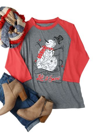 Christmas Plus Size Let It Snow Snowman Baseball T-Shirt