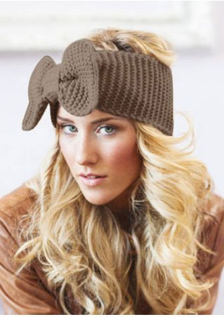 Solid Bowknot Knitted Warm Headband