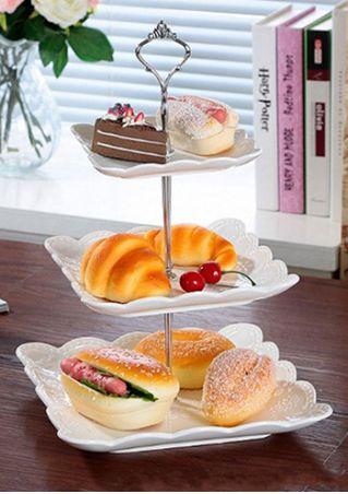 2/3 Layers Crown Cake Plate Dessert Fruit Rack Holder