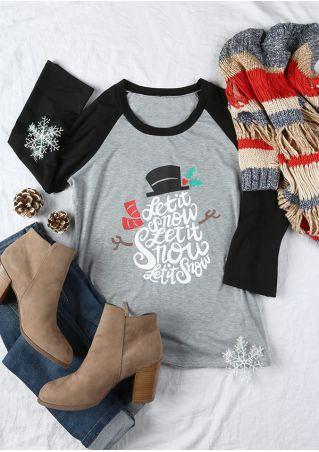 Christmas Let It Snow O-Neck Baseball T-Shirt