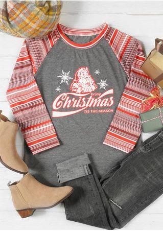 Plus Size Enjoy Christmas Santa O-Neck Baseball T-Shirt