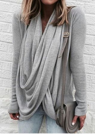 Solid Wrap Draped Blouse without Necklace