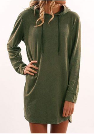 Solid Drawstring Hooded Long Sleeve Blouse