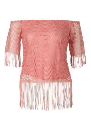 Solid Off Shoulder Fringe Blouse
