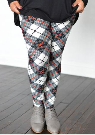 Plus Size Plaid Elastic Waist Skinny Leggings