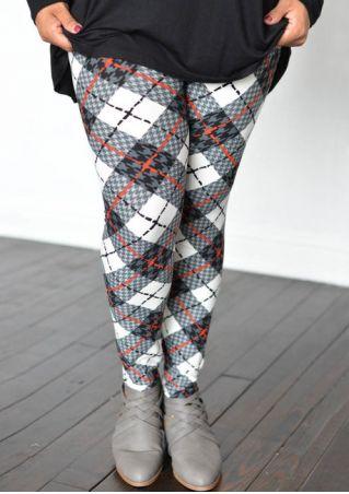 Plus Size Plaid Elastic Waist Skinny Leggings