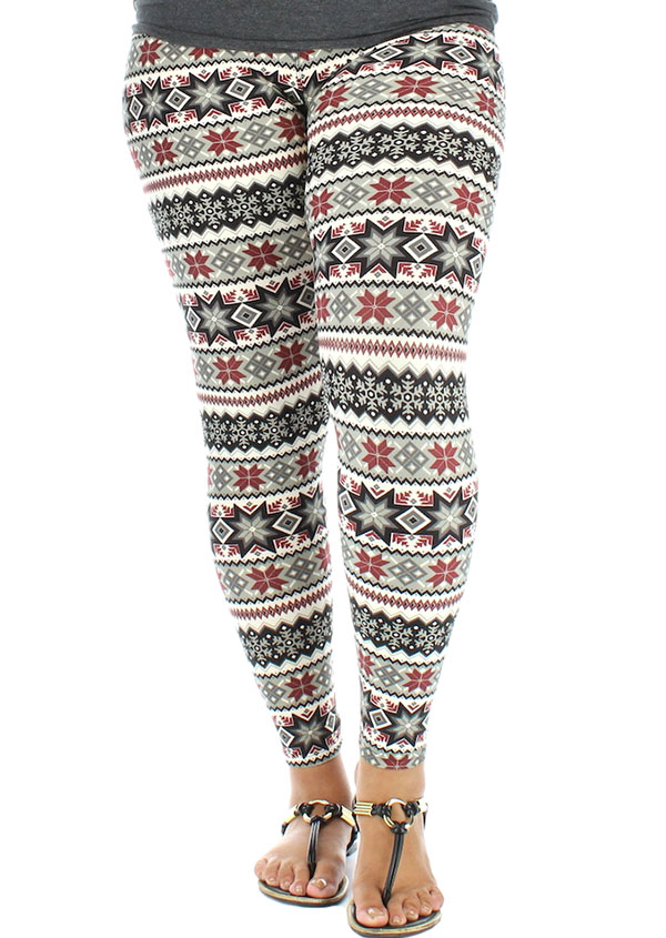 Plus Size Christmas Leggings.Christmas Plus Size Snowflake Elastic Waist Leggings