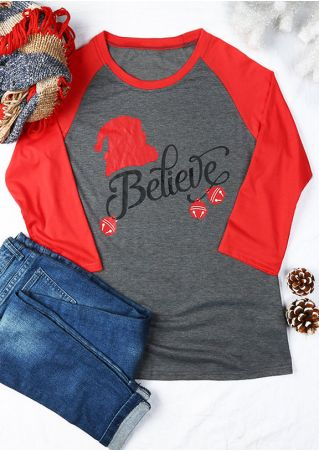 Christmas Plus Size Santa Claus Believe Baseball T-Shirt