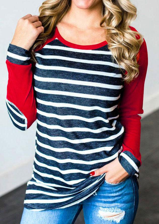 Striped Elbow Patch Baseball T-Shirt фото