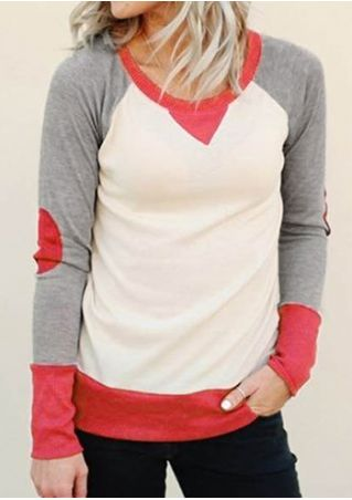 Color Block Elbow Patch O-Neck Sweatshirt