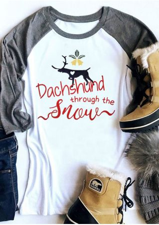 Christmas Dachshund Through The Snow Baseball T-Shirt