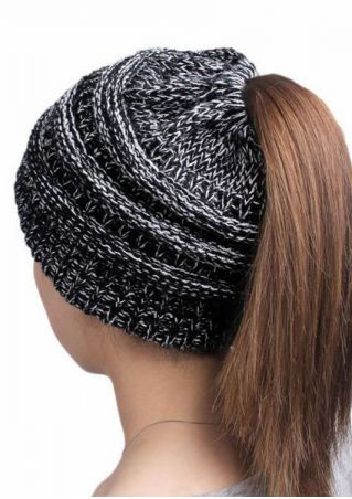 Knitted Bun Beanie Ponytail Hat