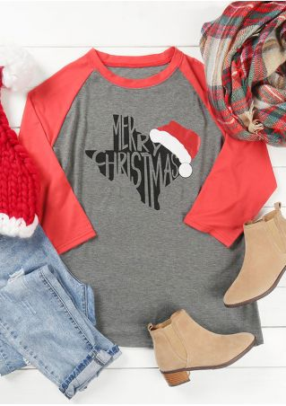 Plus Size Merry Christmas Texas O-Neck Baseball T-Shirt