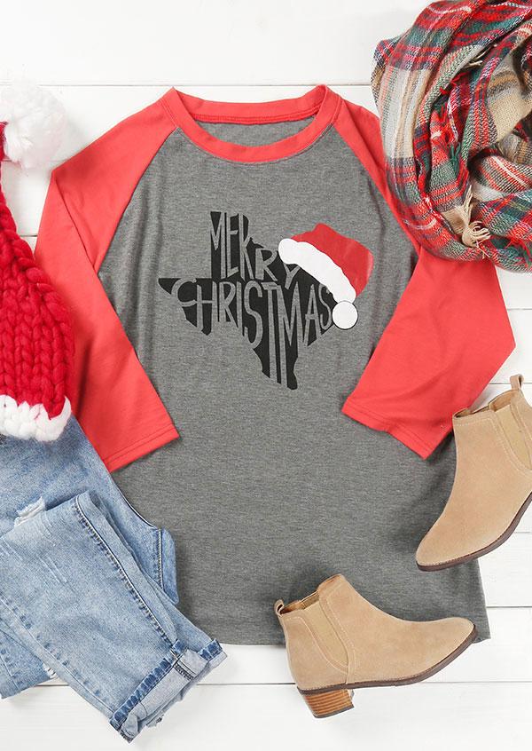 33edb6cd5 Plus Size Merry Christmas Texas O-Neck Baseball T-Shirt - Fairyseason