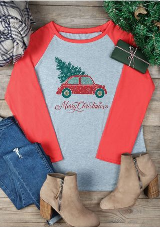 Plus Size Merry Christmas Car Baseball T-Shirt