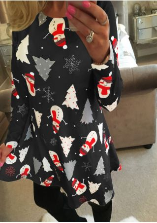Christmas Snowman Printed Mini Dress