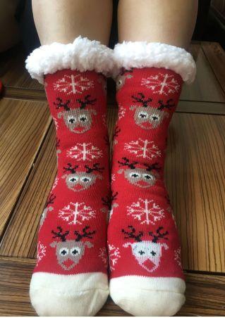 Christmas Reindeer Snowflake Warm Socks