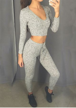 Knitted Hooded Crop Top and Leggings Set