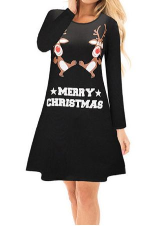 Merry Christmas Reindeer Mini Dress
