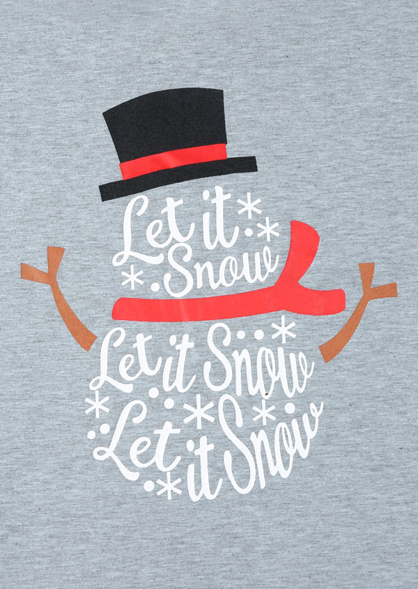 Christmas Plus Size Let It Snow Snowman Baseball T Shirt