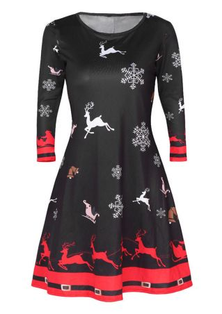 Christmas Reindeer Snowflake Casual Dress
