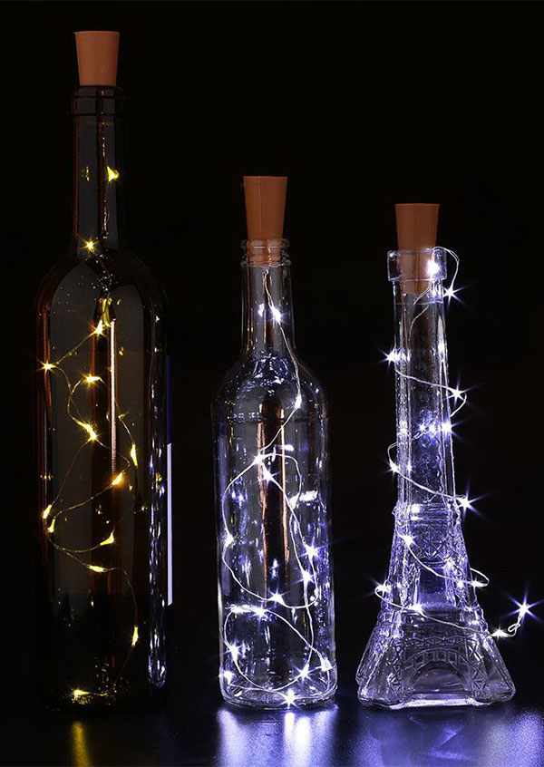 Image of 3Pcs/Set Chic Cork Shaped Wine Bottle Lamp