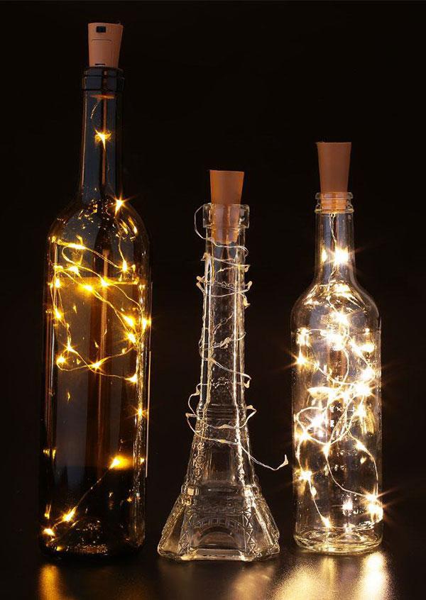 3pcs Set Chic Cork Shaped Wine Bottle Lamp Fairyseason