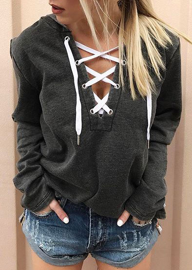 Hoodies Lace Up Long Sleeve Hoodie in Gray. Size: S,M,L,XL,2XL,3XL,4XL фото