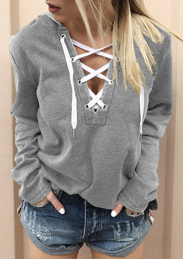 Hoodies Lace Up Long Sleeve Hoodie in Red,Light Grey. Size: S,M,L,XL,2XL,3XL,4XL фото