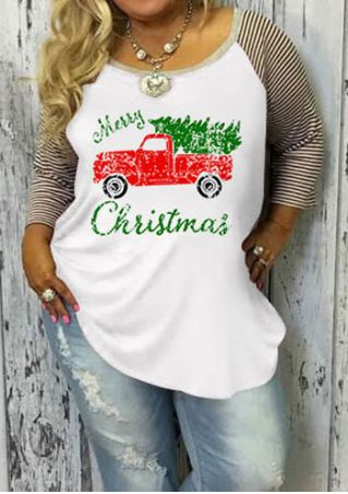 be424d08f958a1 Plus Size Christmas Letter Printed Baseball T-Shirt without Necklace ...