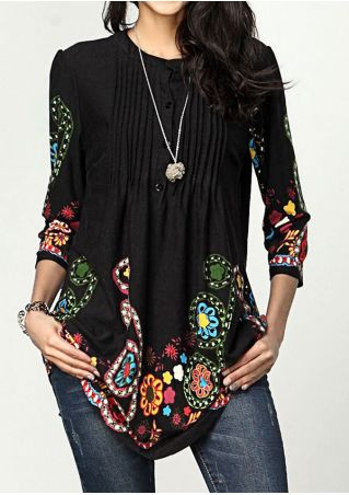 Floral Ruched Button Blouse without Necklace
