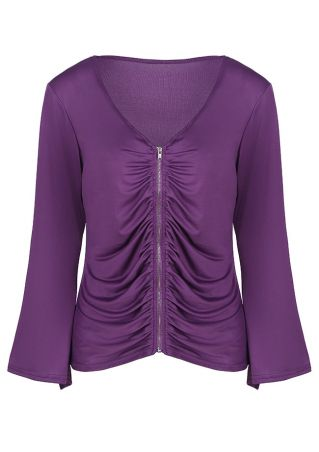 Solid Ruched Zipper Flare Sleeve Blouse