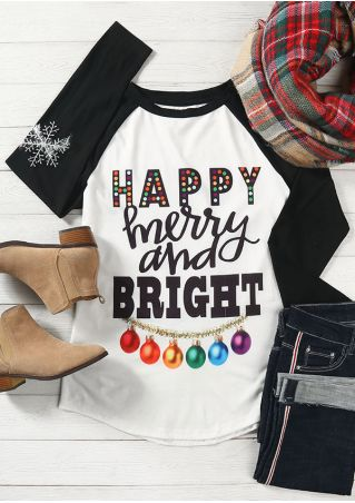 Christmas Happy Merry And Bright Baseball T-Shirt