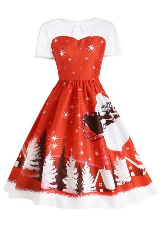 Christmas Tree Snow Scene Splicing Casual Dress
