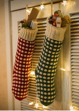Christmas Stocking Polka Dot Sock Shaped Gift Holder Bag