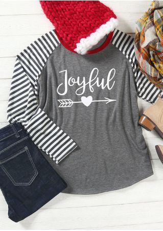Plus Size Joyful Arrow Striped Heart Baseball T-Shirt