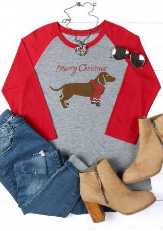 Merry Christmas Dachshund O-Neck Baseball T-Shirt