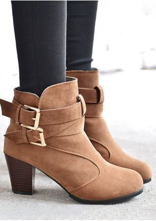 Solid Buckle Round Toe Heeled Boots
