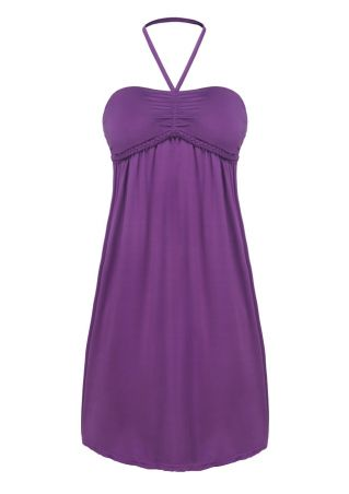 Solid Ruched Halter Mini Dress