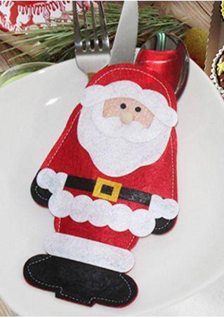 Christmas Santa Claus Tableware Holder Bag Red
