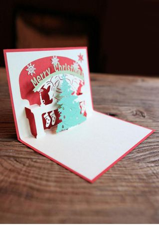 Christmas Paper 3D Pop Up Greeting Card