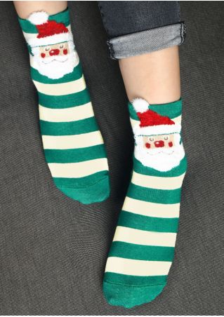 Christmas Santa Claus Striped Socks