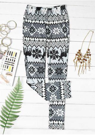 Christmas Reindeer Snowflake Elastic Waist Leggings