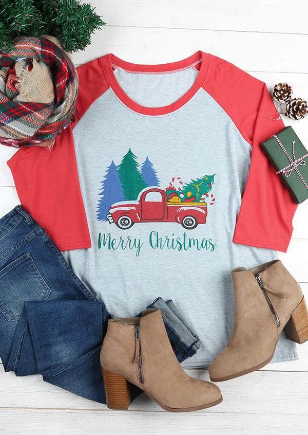 plus size merry christmas car o-neck baseball t-shirt