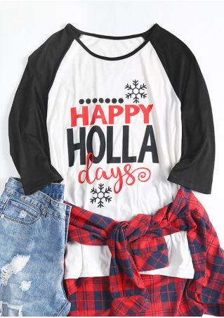 Christmas Plus Size Happy Holla Days Baseball T-Shirt