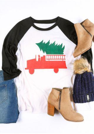 Christmas Plus Size Tree O-Neck Baseball T-Shirt