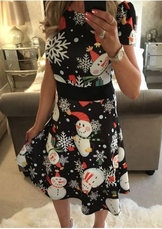 Christmas Snowman Snowflake O-Neck Casual Dress