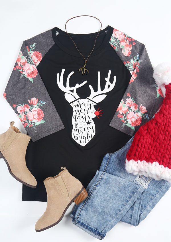 6289b587a Christmas Plus Size Reindeer Merry And Bright Baseball T-Shirt ...