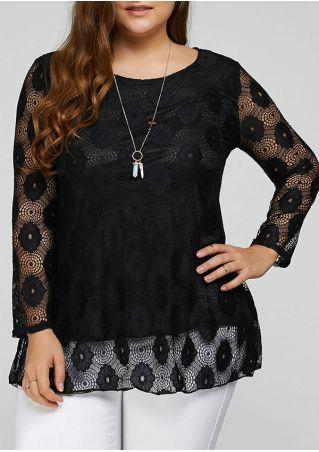 Plus Size Lace Floral Blouse without Necklace