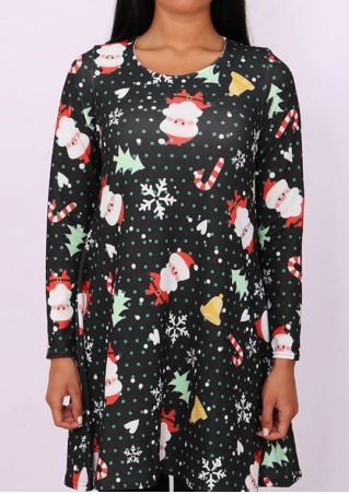 Christmas Santa Tree Snowflake Casual Dress